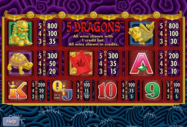 5 Dragon pokies game