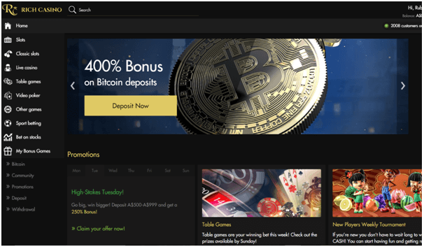 BTC bonus at Rich Casino