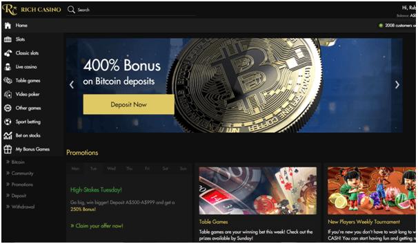 BTC bonus at Rich Casino