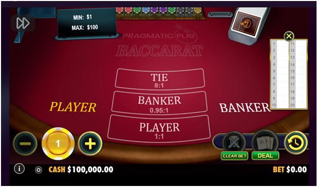 Baccarat at pragmatic play online casinos