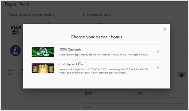 deposit bonus offer to play pokies