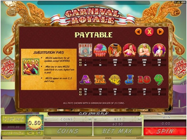 Carnival Royale Paytable