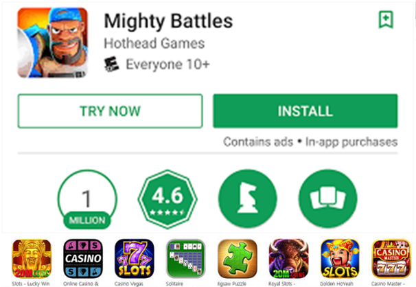 Free game apps at Google Play