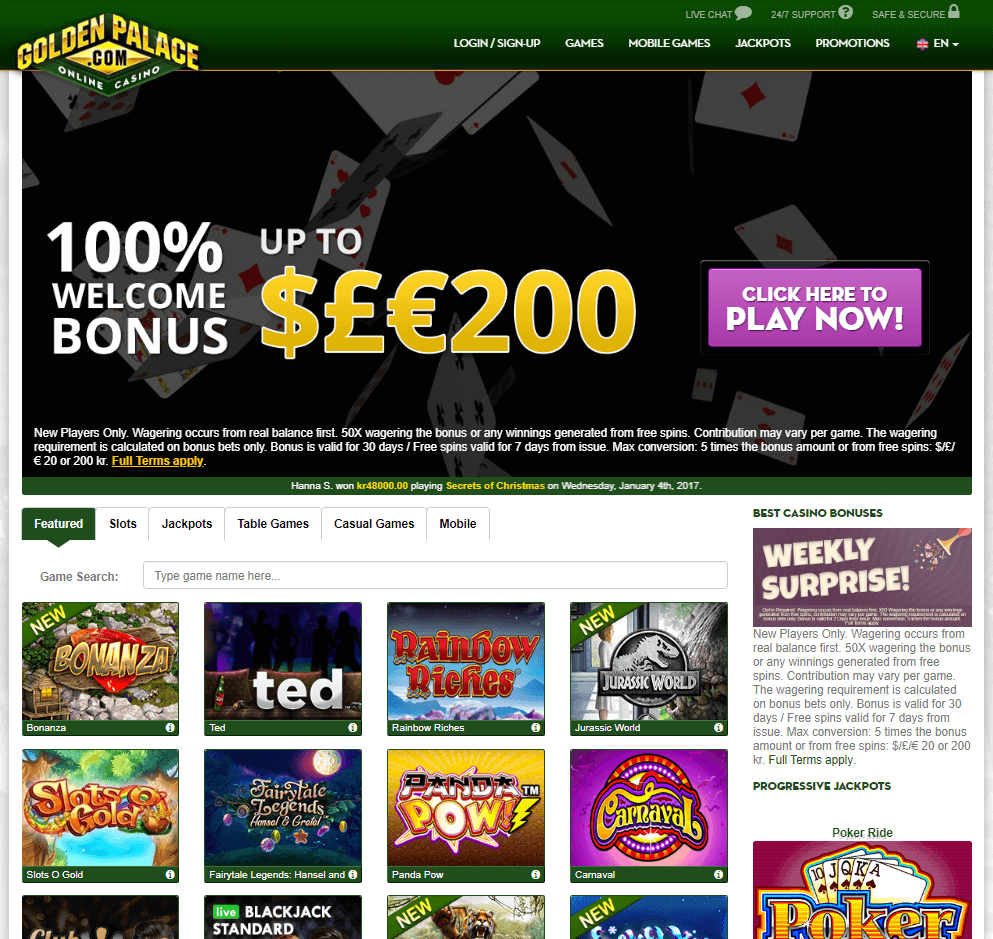 Golden Palace Casino Online