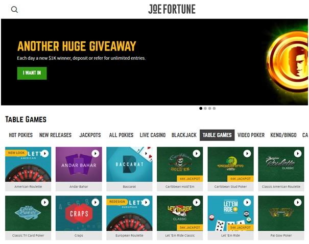 Joe Fortune Casino Table Games
