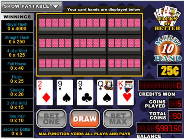 Multihand video poker