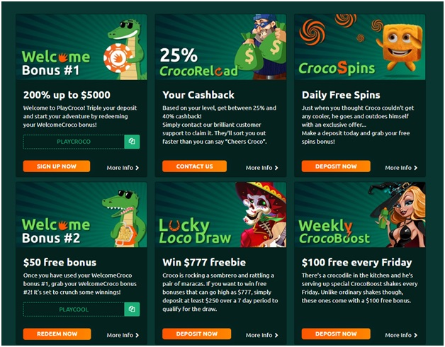 Bonuses to redeem with your mobile at Play Croco Casino