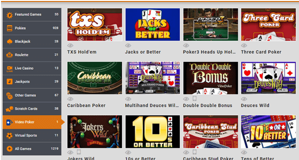 Poker games at online casinos