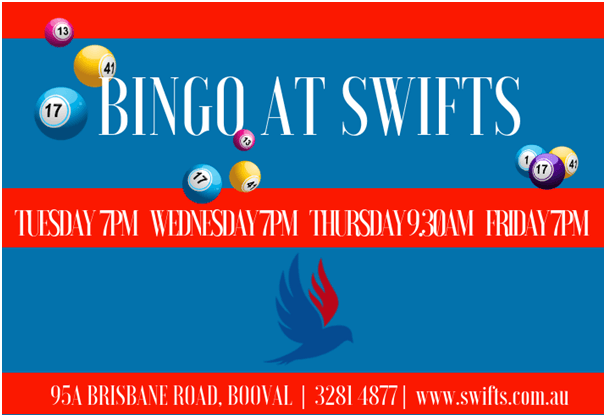 Swifts sports club bingo