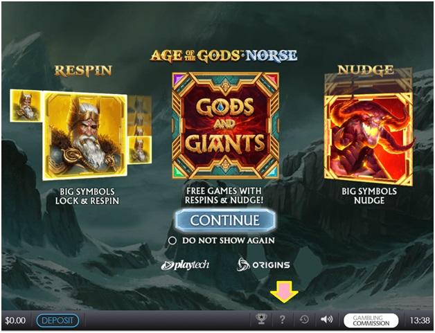 Slot machine help menu- Age of Gods slot