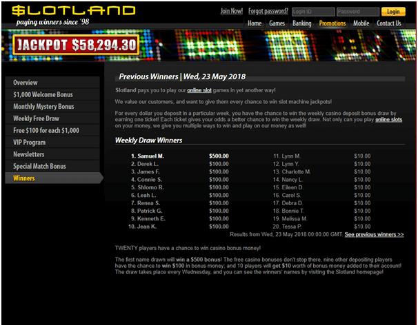 Slotland casino winner