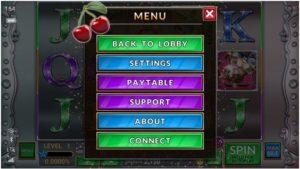 What all can you find in a pokies machine help menu
